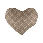 BRICK2 WHITE MARBLE & SAND Standard 16  Premium Flano Heart Shape Cushions Front