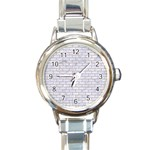 BRICK1 WHITE MARBLE & SAND (R) Round Italian Charm Watch Front
