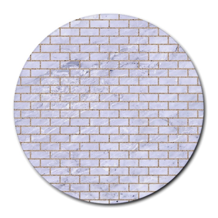 BRICK1 WHITE MARBLE & SAND (R) Round Mousepads