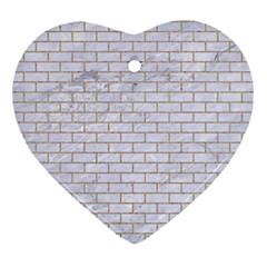 Brick1 White Marble & Sand (r) Ornament (heart)