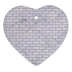 BRICK1 WHITE MARBLE & SAND (R) Ornament (Heart) Front