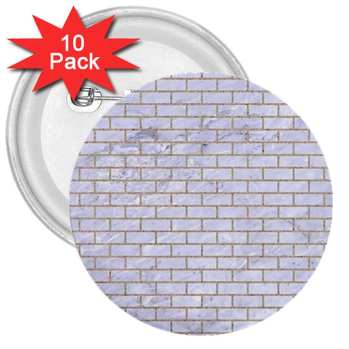 BRICK1 WHITE MARBLE & SAND (R) 3  Buttons (10 pack)