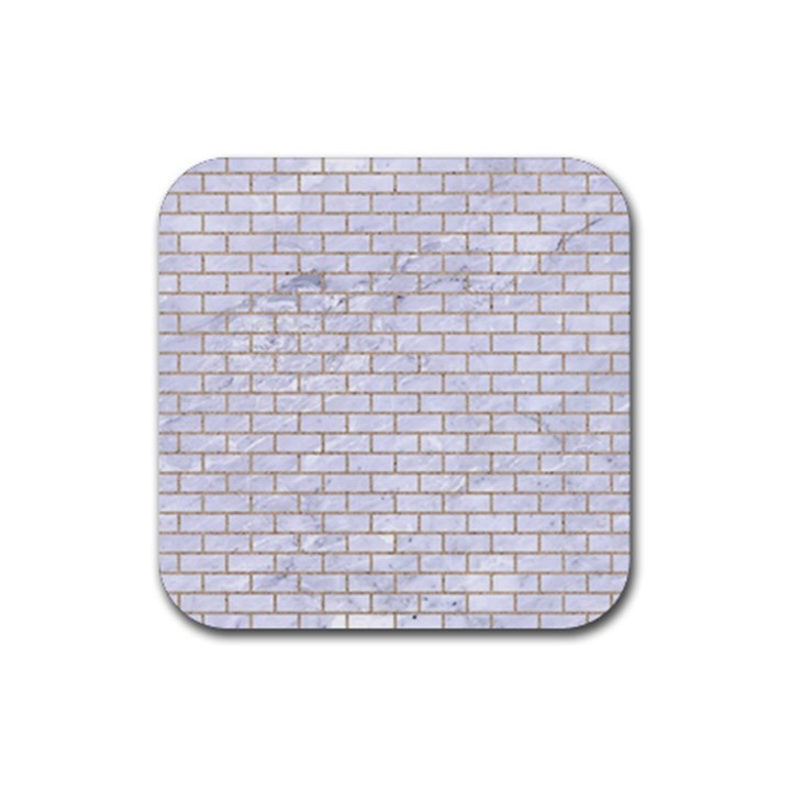 BRICK1 WHITE MARBLE & SAND (R) Rubber Square Coaster (4 pack)