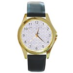 BRICK1 WHITE MARBLE & SAND (R) Round Gold Metal Watch Front