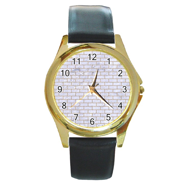 BRICK1 WHITE MARBLE & SAND (R) Round Gold Metal Watch