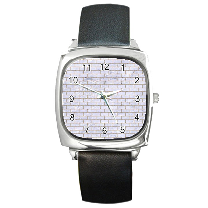 BRICK1 WHITE MARBLE & SAND (R) Square Metal Watch
