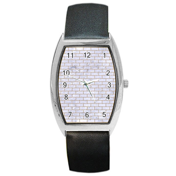 BRICK1 WHITE MARBLE & SAND (R) Barrel Style Metal Watch
