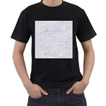 BRICK1 WHITE MARBLE & SAND (R) Men s T-Shirt (Black) (Two Sided) Front