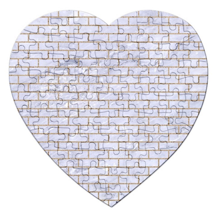 BRICK1 WHITE MARBLE & SAND (R) Jigsaw Puzzle (Heart)