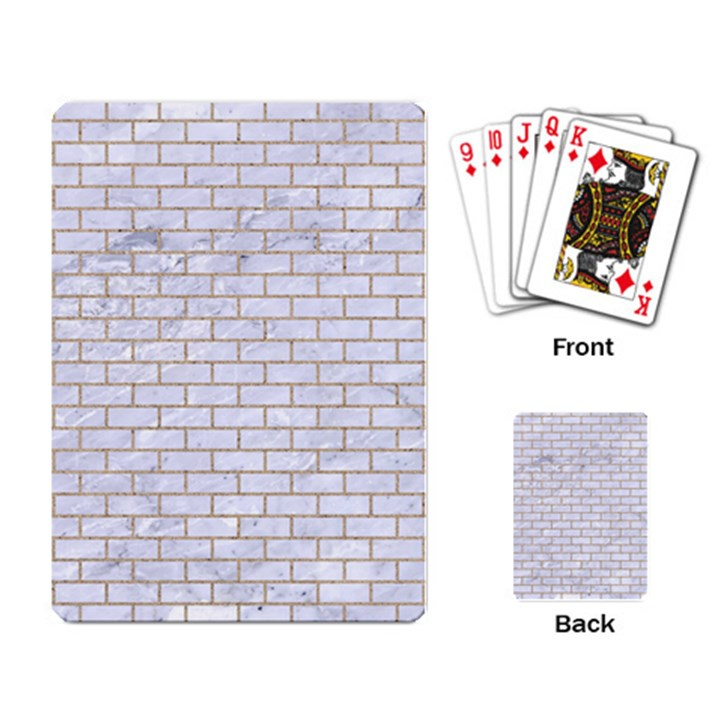 BRICK1 WHITE MARBLE & SAND (R) Playing Card