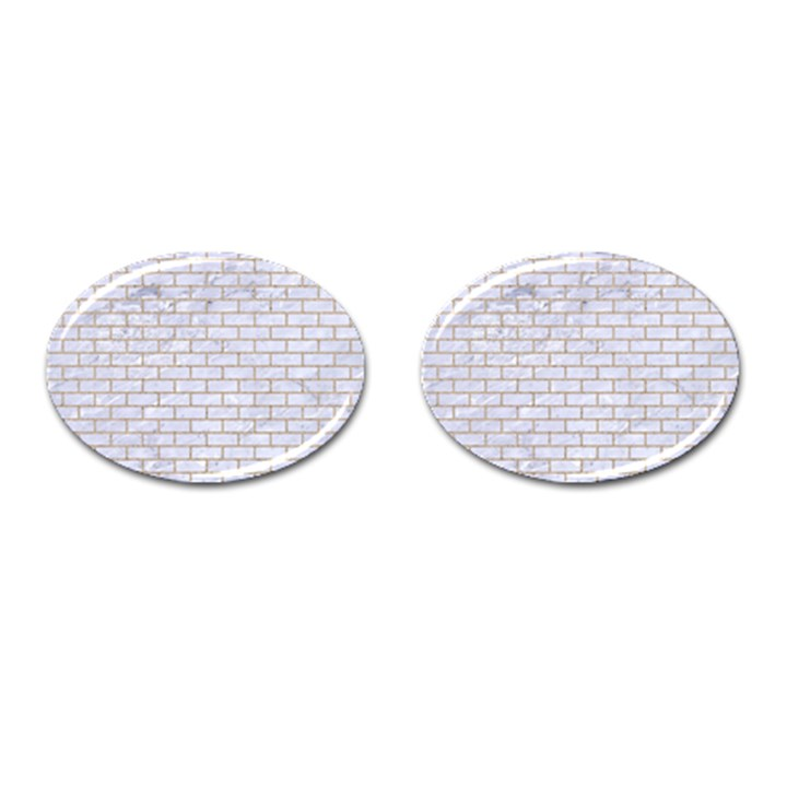 BRICK1 WHITE MARBLE & SAND (R) Cufflinks (Oval)