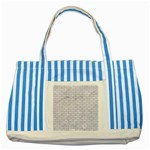 BRICK1 WHITE MARBLE & SAND (R) Striped Blue Tote Bag Front