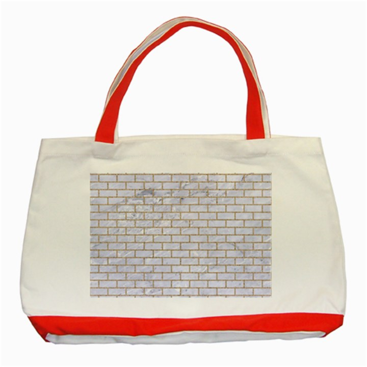 BRICK1 WHITE MARBLE & SAND (R) Classic Tote Bag (Red)
