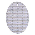 BRICK1 WHITE MARBLE & SAND (R) Oval Ornament (Two Sides) Back