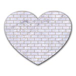 BRICK1 WHITE MARBLE & SAND (R) Heart Mousepads Front