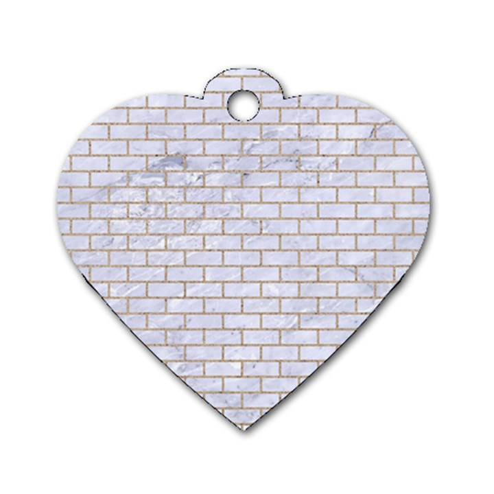 BRICK1 WHITE MARBLE & SAND (R) Dog Tag Heart (Two Sides)