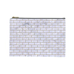 Brick1 White Marble & Sand (r) Cosmetic Bag (large)