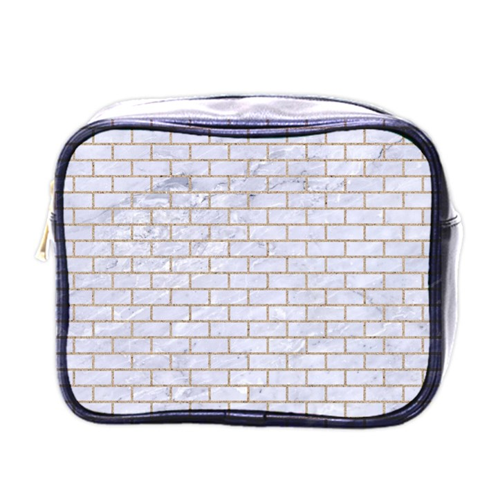 BRICK1 WHITE MARBLE & SAND (R) Mini Toiletries Bags