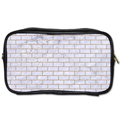 Brick1 White Marble & Sand (r) Toiletries Bags 2 Side