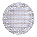 BRICK1 WHITE MARBLE & SAND (R) Round Filigree Ornament (Two Sides) Front