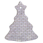 BRICK1 WHITE MARBLE & SAND (R) Christmas Tree Ornament (Two Sides) Front