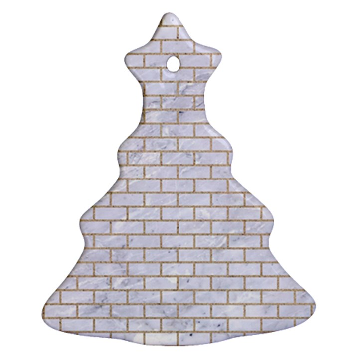 BRICK1 WHITE MARBLE & SAND (R) Christmas Tree Ornament (Two Sides)