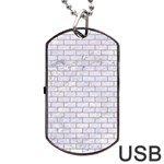 BRICK1 WHITE MARBLE & SAND (R) Dog Tag USB Flash (One Side) Front