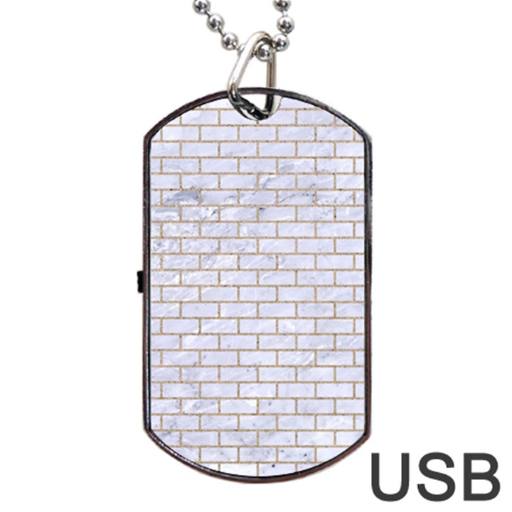 BRICK1 WHITE MARBLE & SAND (R) Dog Tag USB Flash (Two Sides)