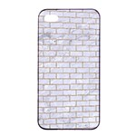 BRICK1 WHITE MARBLE & SAND (R) Apple iPhone 4/4s Seamless Case (Black) Front