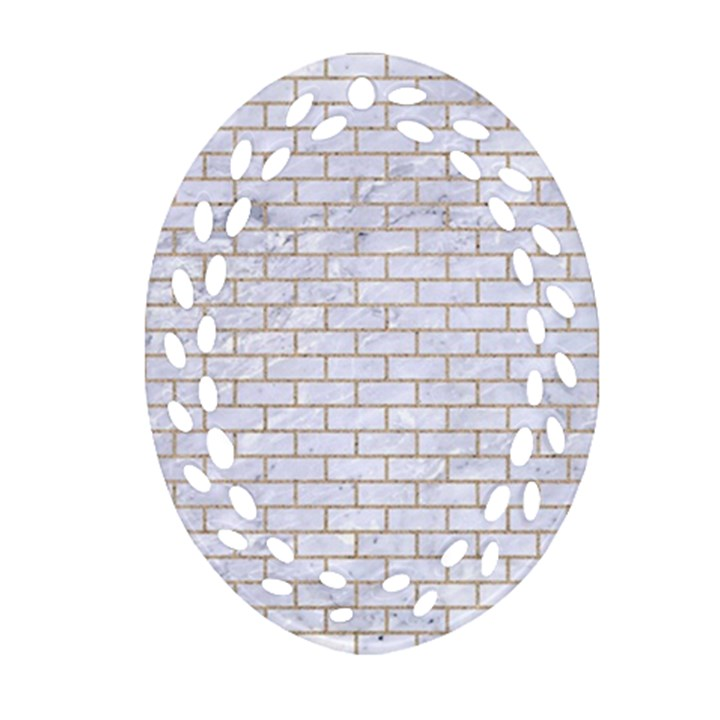 BRICK1 WHITE MARBLE & SAND (R) Oval Filigree Ornament (Two Sides)