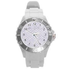 Brick1 White Marble & Sand (r) Round Plastic Sport Watch (l)