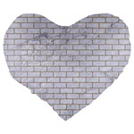 BRICK1 WHITE MARBLE & SAND (R) Large 19  Premium Heart Shape Cushions Back