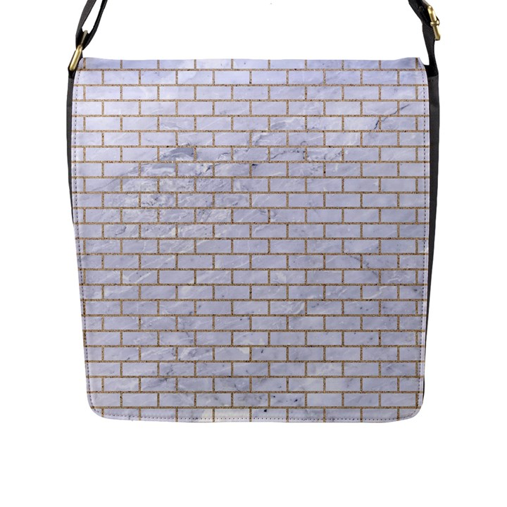 BRICK1 WHITE MARBLE & SAND (R) Flap Messenger Bag (L)