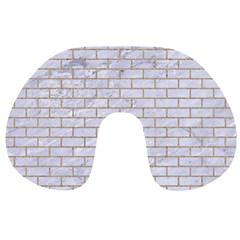 Brick1 White Marble & Sand (r) Travel Neck Pillows