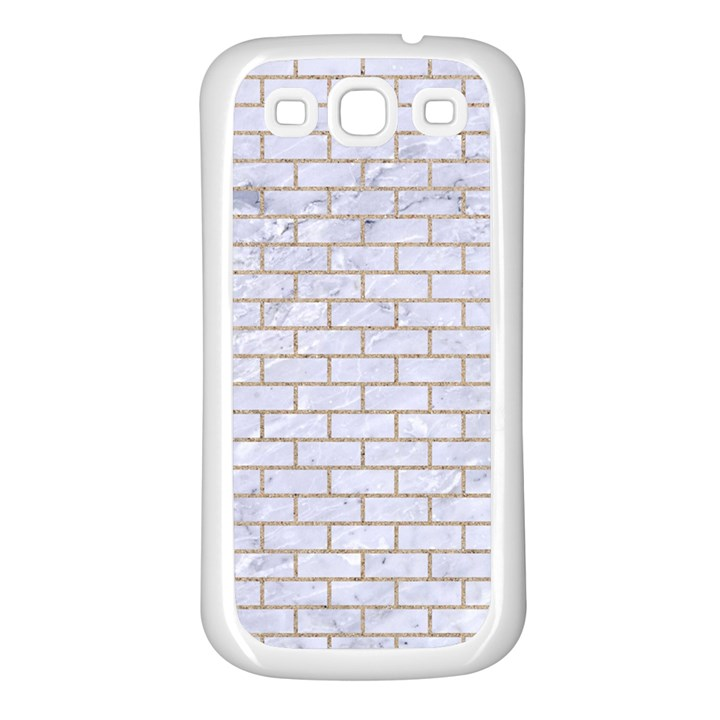 BRICK1 WHITE MARBLE & SAND (R) Samsung Galaxy S3 Back Case (White)