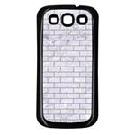 BRICK1 WHITE MARBLE & SAND (R) Samsung Galaxy S3 Back Case (Black) Front
