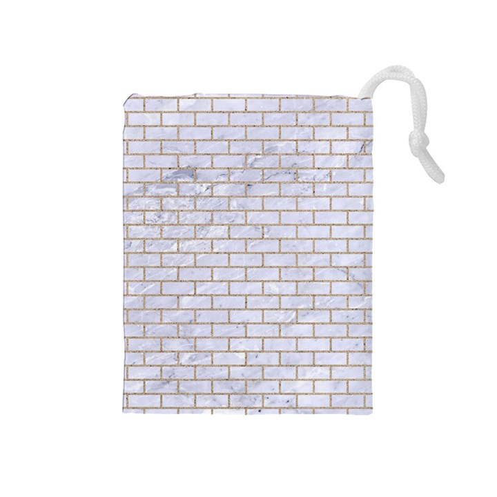 BRICK1 WHITE MARBLE & SAND (R) Drawstring Pouches (Medium)
