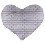 BRICK1 WHITE MARBLE & SAND (R) Large 19  Premium Flano Heart Shape Cushions Back