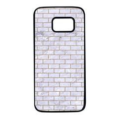 Brick1 White Marble & Sand (r) Samsung Galaxy S7 Black Seamless Case