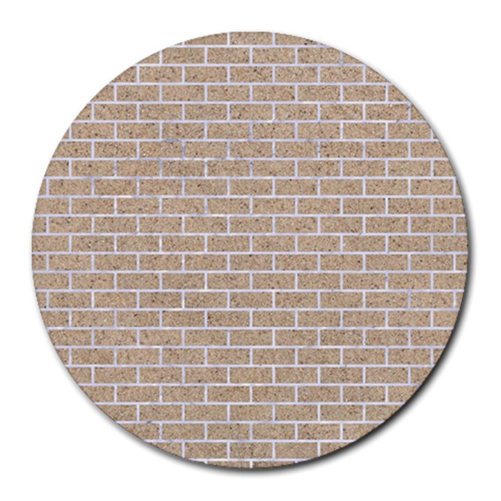 BRICK1 WHITE MARBLE & SAND Round Mousepads