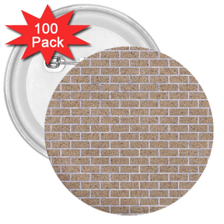 BRICK1 WHITE MARBLE & SAND 3  Buttons (100 pack)