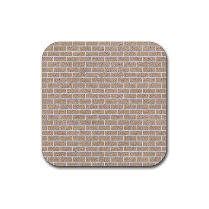 BRICK1 WHITE MARBLE & SAND Rubber Square Coaster (4 pack)