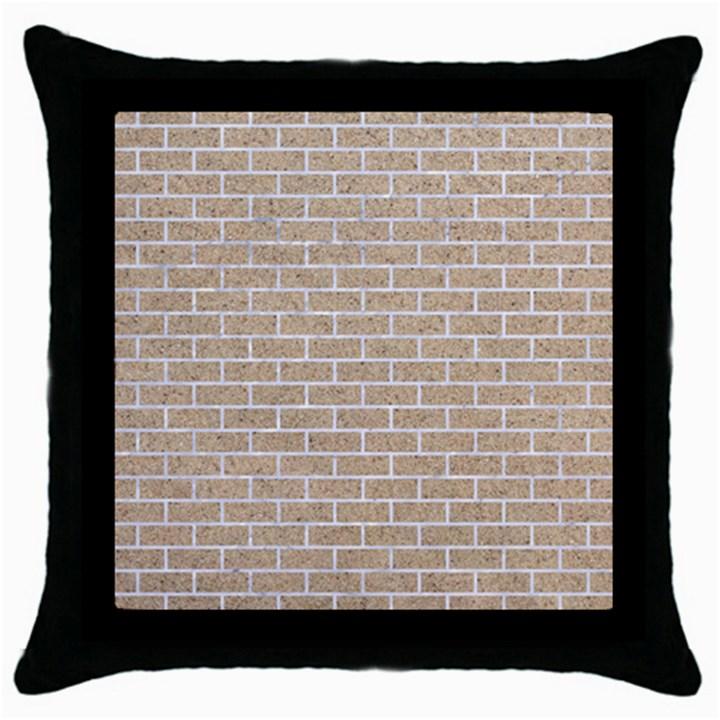 BRICK1 WHITE MARBLE & SAND Throw Pillow Case (Black)