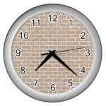 BRICK1 WHITE MARBLE & SAND Wall Clocks (Silver)  Front