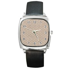 Brick1 White Marble & Sand Square Metal Watch