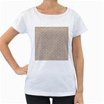 BRICK1 WHITE MARBLE & SAND Women s Loose-Fit T-Shirt (White) Front