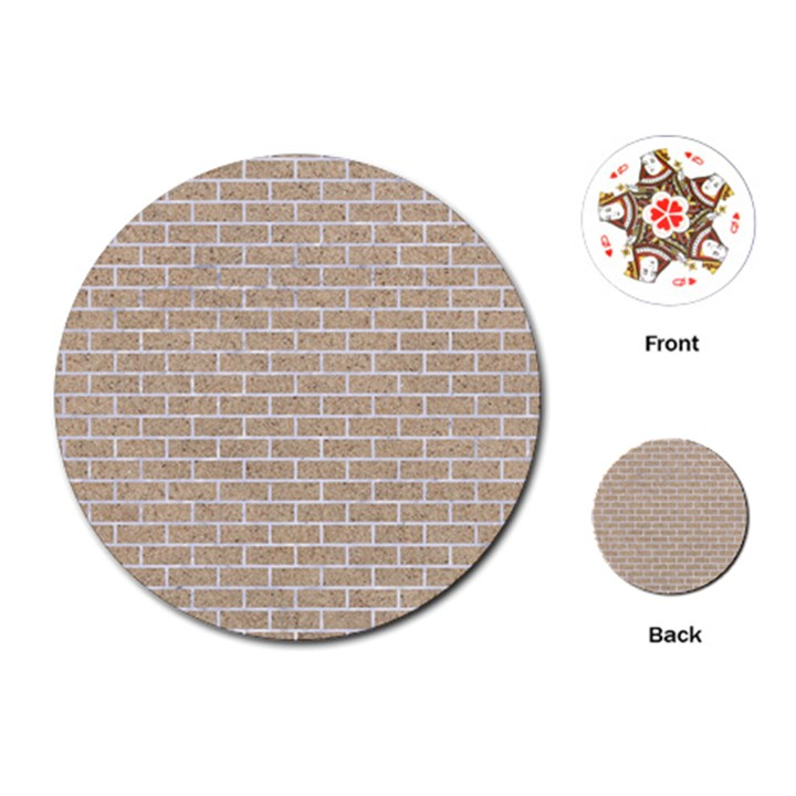 BRICK1 WHITE MARBLE & SAND Playing Cards (Round)