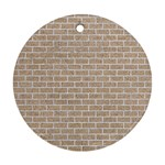 BRICK1 WHITE MARBLE & SAND Round Ornament (Two Sides) Front