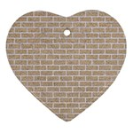 BRICK1 WHITE MARBLE & SAND Heart Ornament (Two Sides) Front