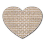 BRICK1 WHITE MARBLE & SAND Heart Mousepads Front